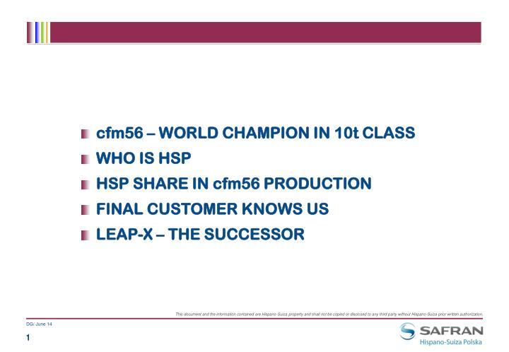 Cfm56 – WORLD CHAMPION IN 10t CLASS