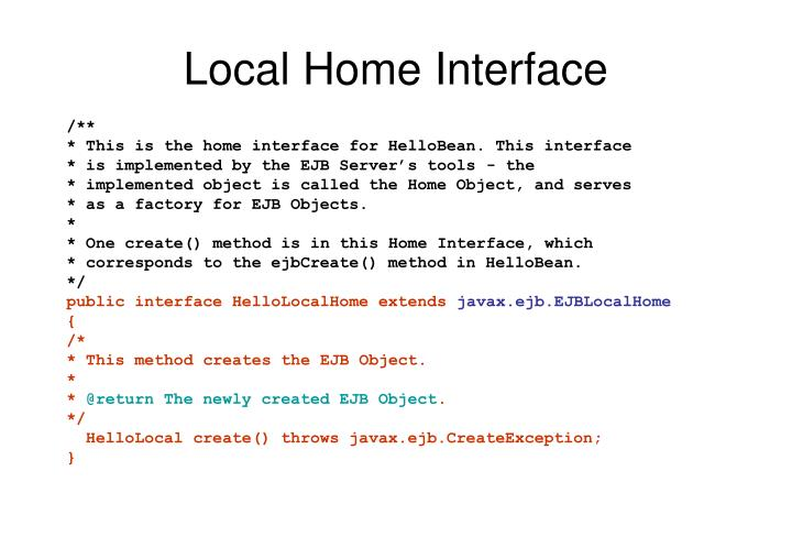 Local Home Interface