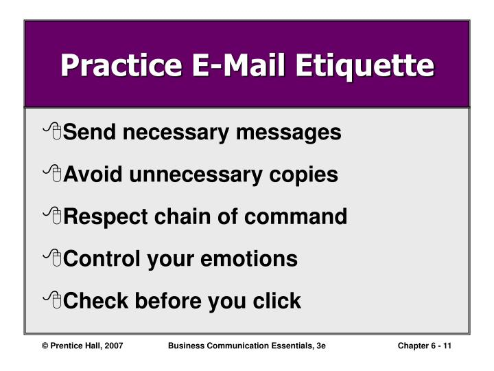 Practice E-Mail Etiquette