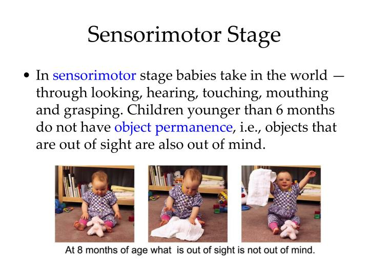 the development of object permanence As your baby's understanding of object permanence improves, he or she will be able to easily find hidden objects although your leaving the room might lead to crying, your baby will begin to realize that you still exist even when you're out of sight.