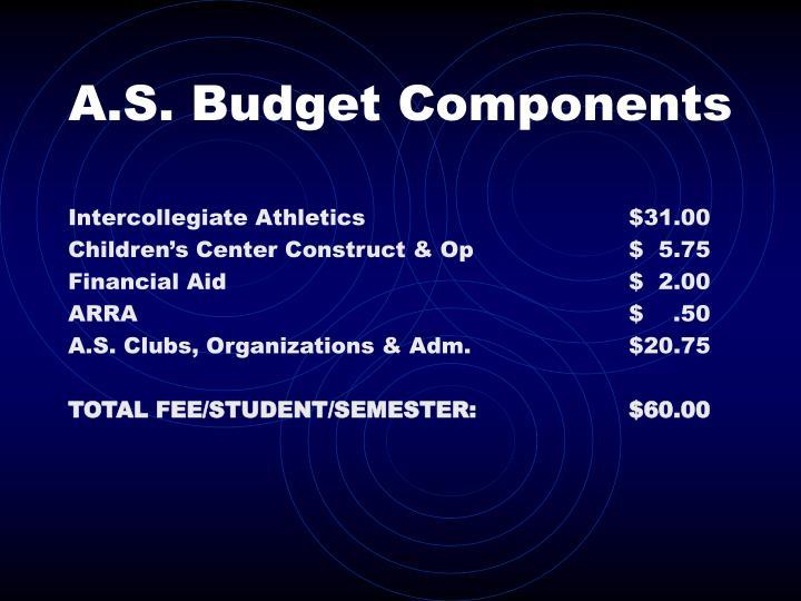 A.S. Budget Components