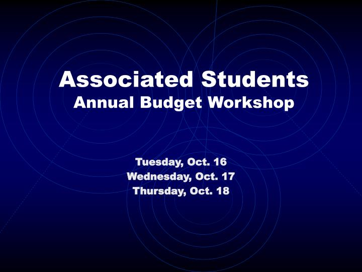 Associated students annual budget workshop