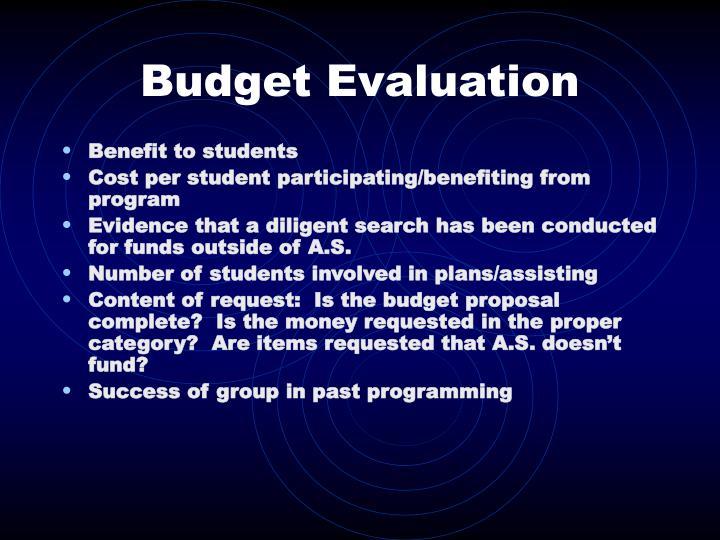 Budget Evaluation