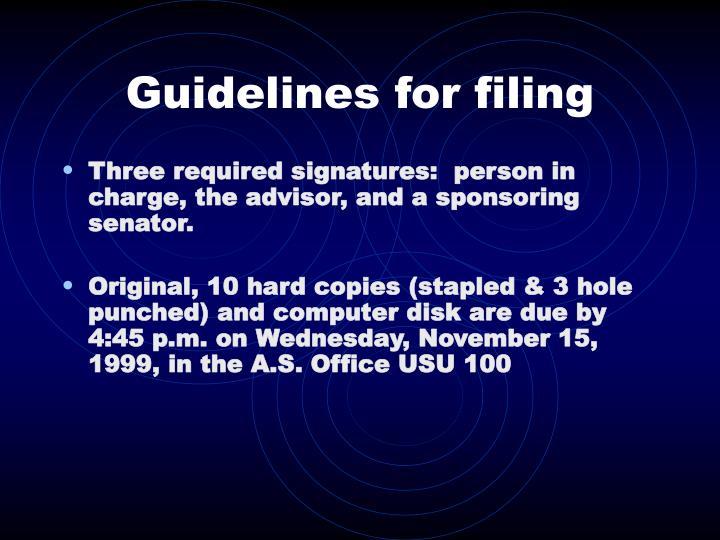 Guidelines for filing