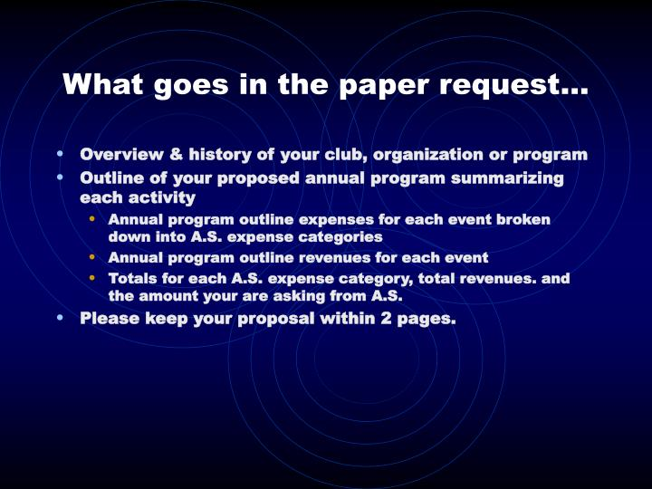 What goes in the paper request…
