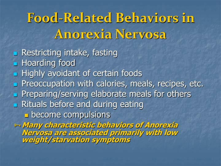 Food-Related Behaviors in Anorexia Nervosa