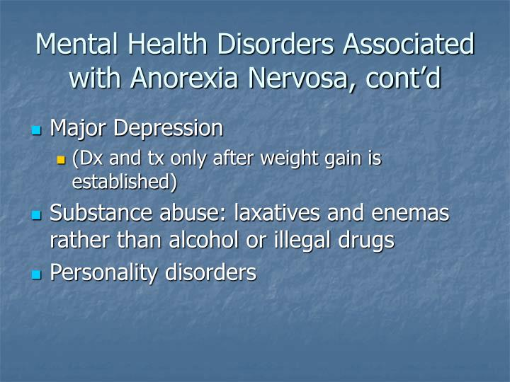 Mental Health Disorders Associated with Anorexia Nervosa, cont'd