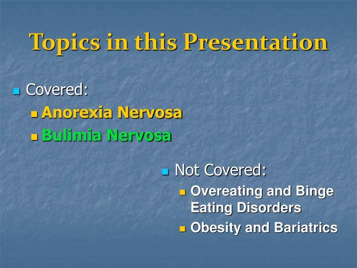 Topics in this presentation