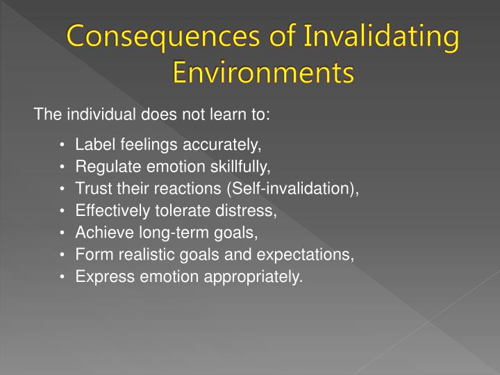 Consequences of invalidating environments