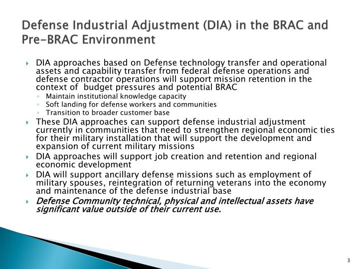 Defense industrial adjustment dia in the brac and pre brac environment