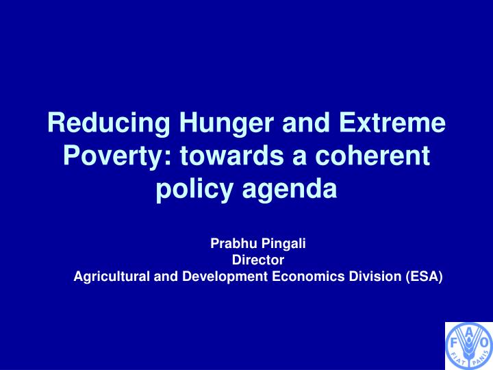Reducing hunger and extreme poverty towards a coherent policy agenda