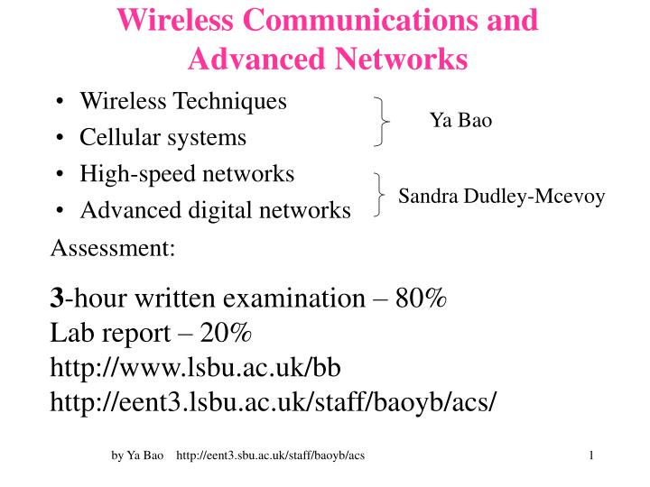 wireless communications and advanced networks n.