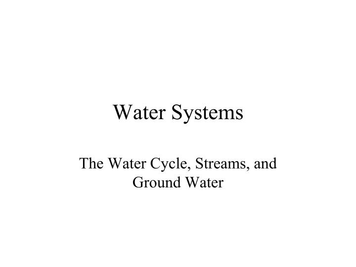 water systems n.