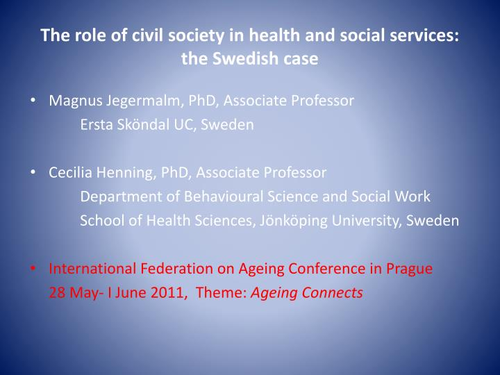The role of civil society in health and social services the swedish case
