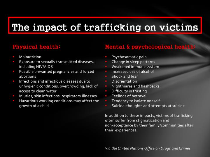 The impact of trafficking on victims