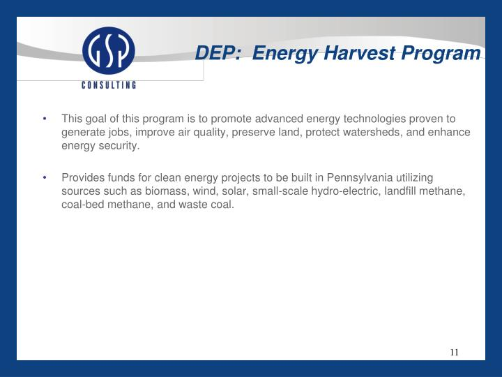 DEP:  Energy Harvest Program