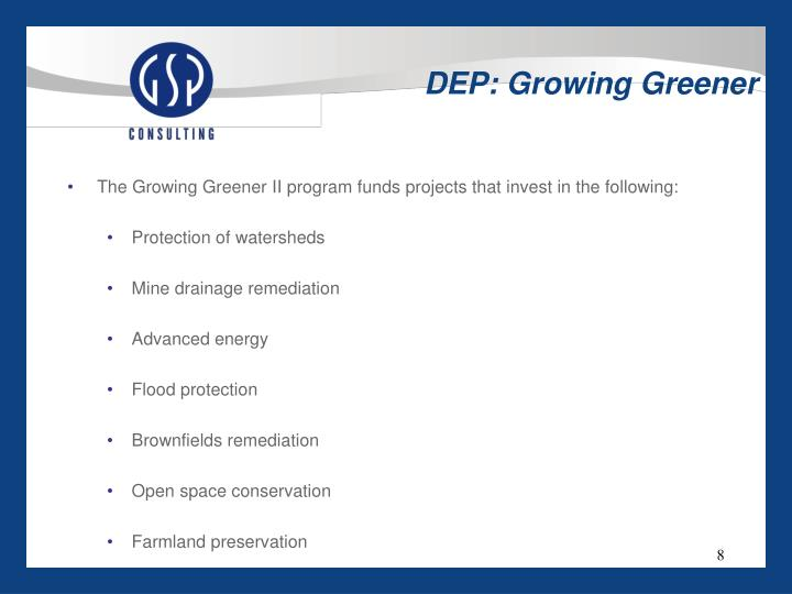 DEP: Growing Greener