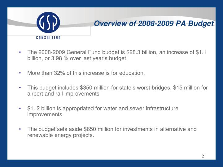 Overview of 2008 2009 pa budget