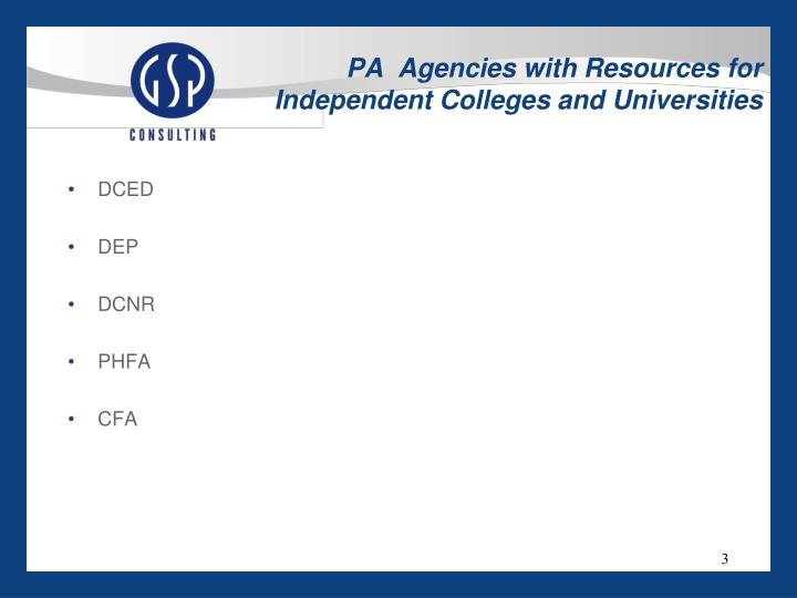 Pa agencies with resources for independent colleges and universities