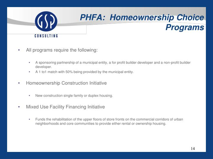PHFA:  Homeownership Choice Programs
