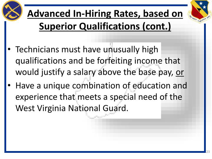 Advanced In-Hiring Rates, based on Superior Qualifications (cont.)