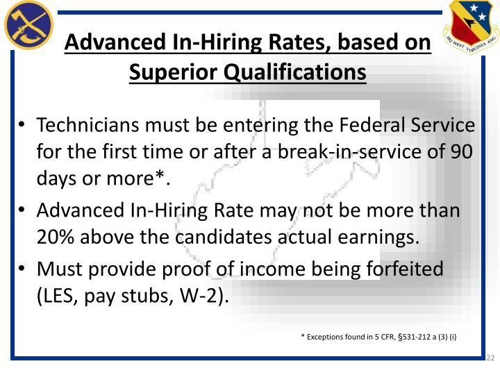 Advanced In-Hiring Rates, based on Superior Qualifications
