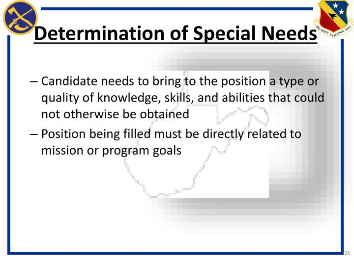 Determination of Special Needs