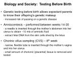 biology and society testing before birth