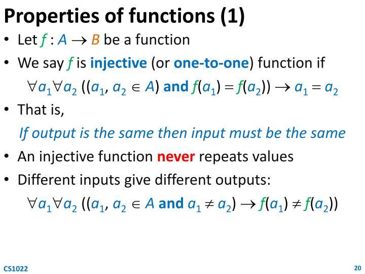 Properties of functions (1)