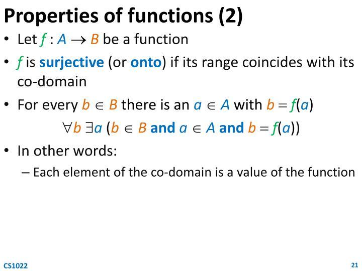 Properties of functions (2)