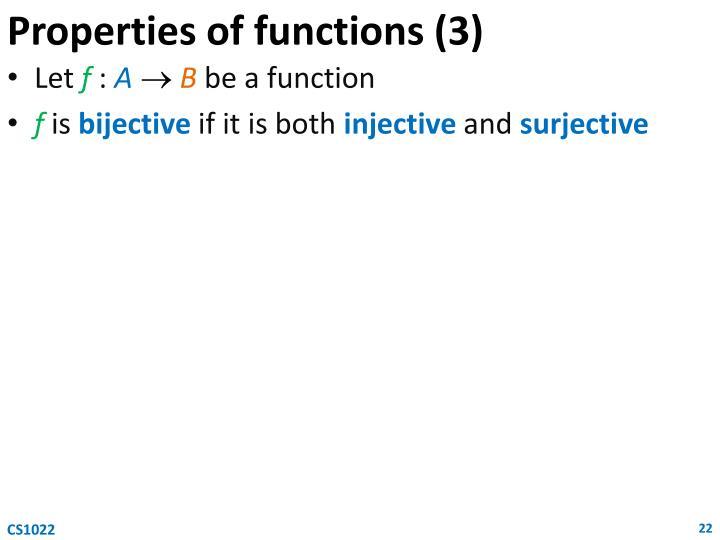 Properties of functions (3)