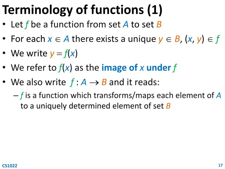 Terminology of functions (1)