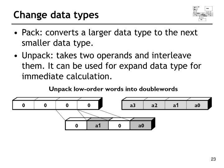Change data types