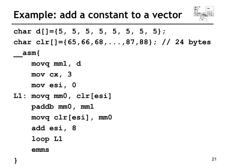 Example: add a constant to a vector