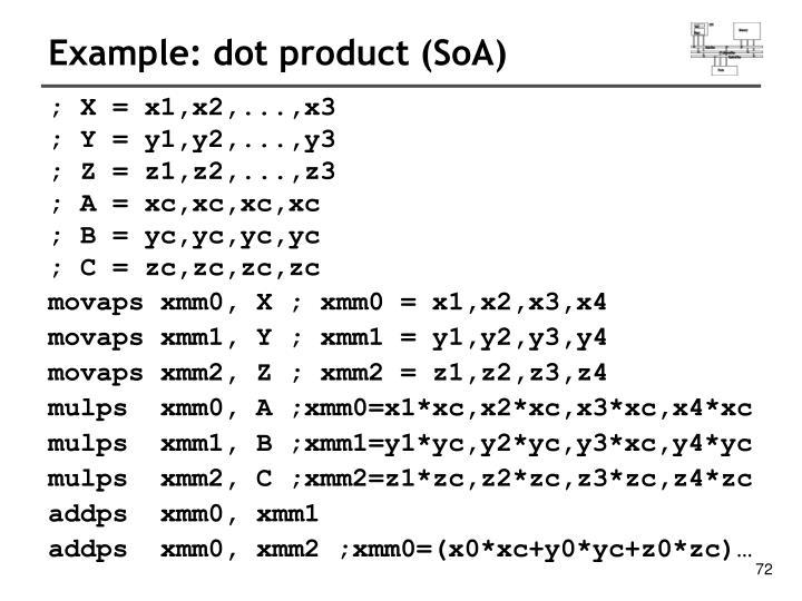 Example: dot product (SoA)