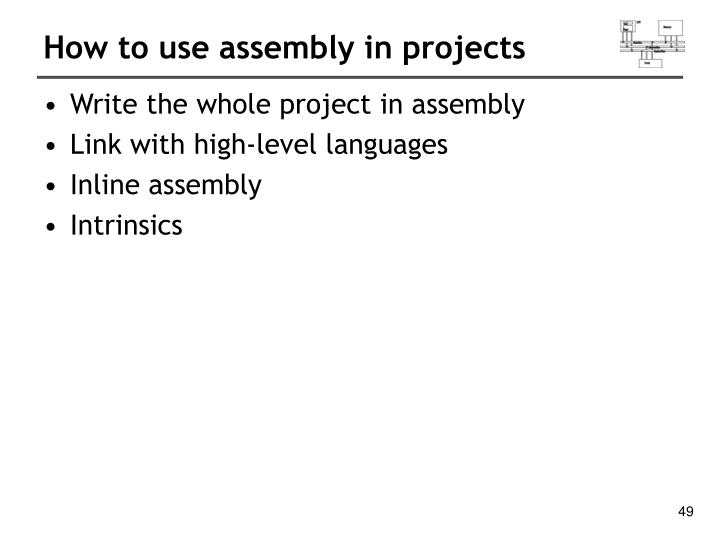 How to use assembly in projects