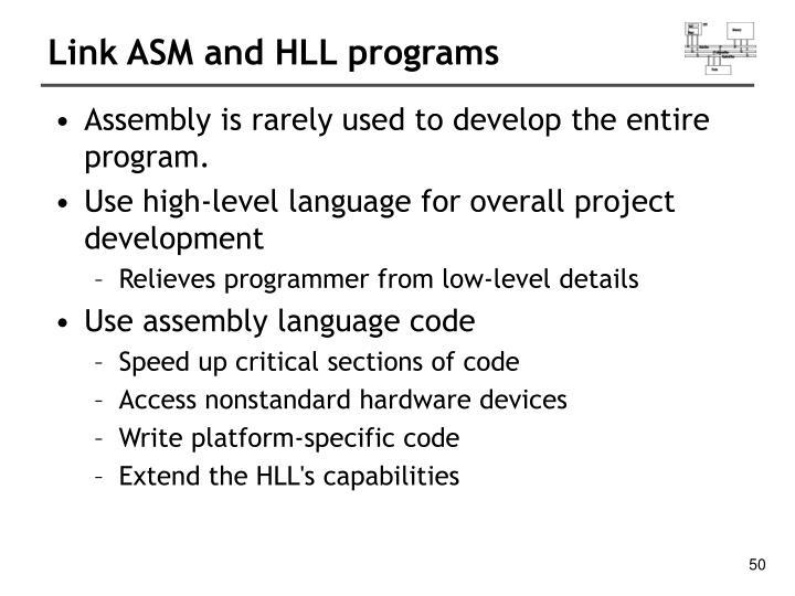 Link ASM and HLL programs
