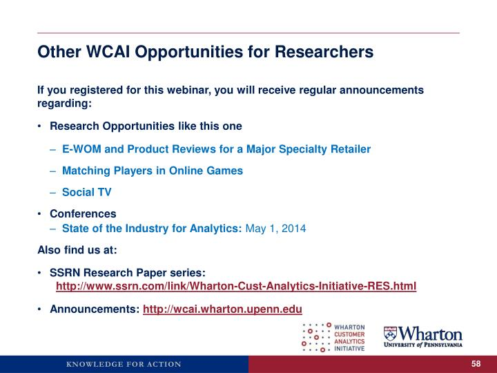 Other WCAI Opportunities for Researchers