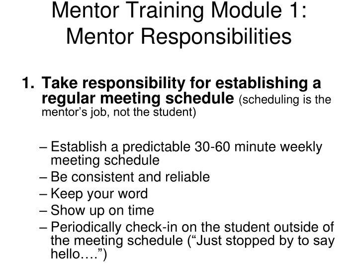 Mentor Training Module 1: