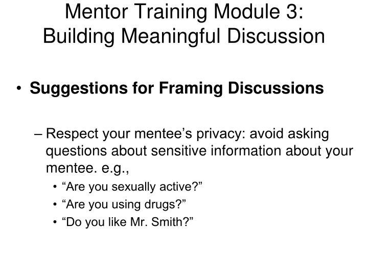 Mentor Training Module 3: