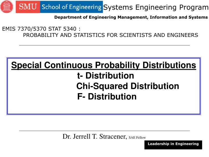 PPT - Special Continuous Probability Distributions t
