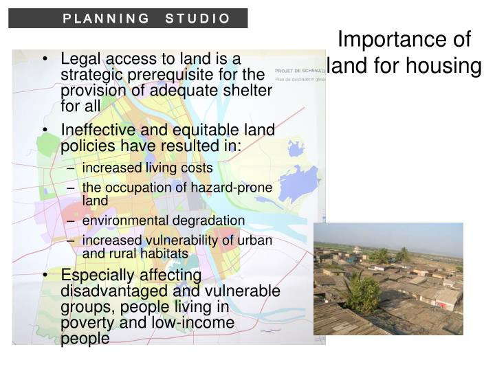 Importance of land for housing