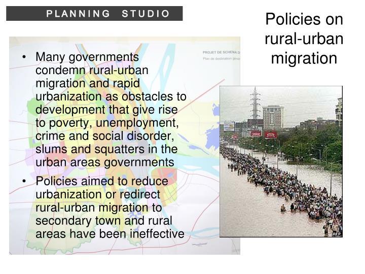 Policies on rural-urban migration