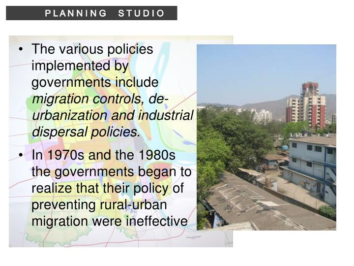 The various policies implemented by governments include