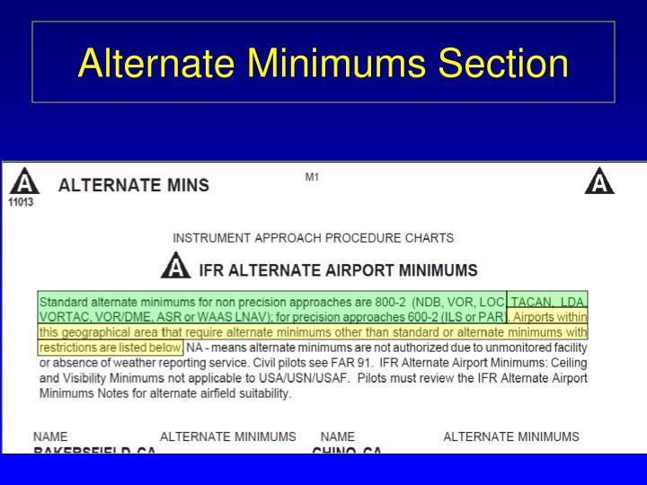 Alternate Minimums Section