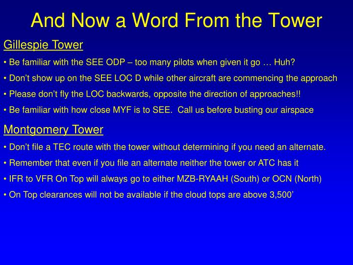 And Now a Word From the Tower
