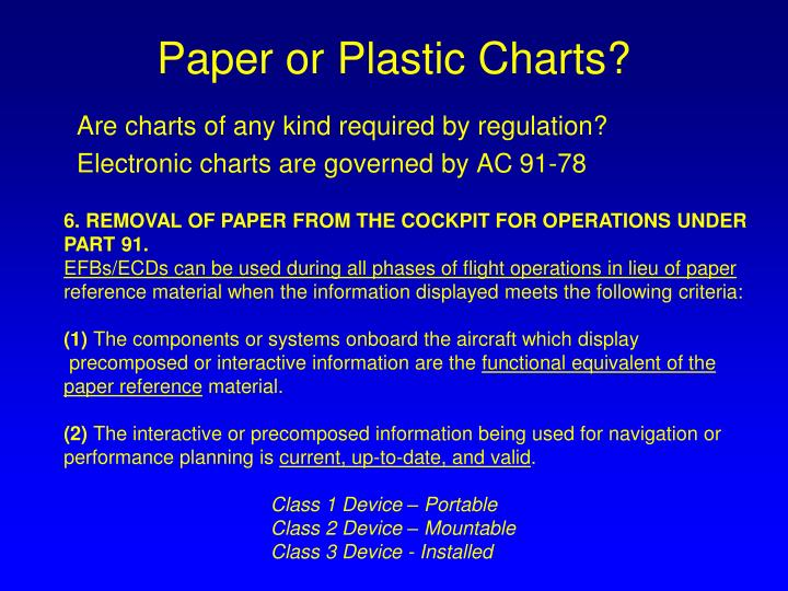 Paper or Plastic Charts?