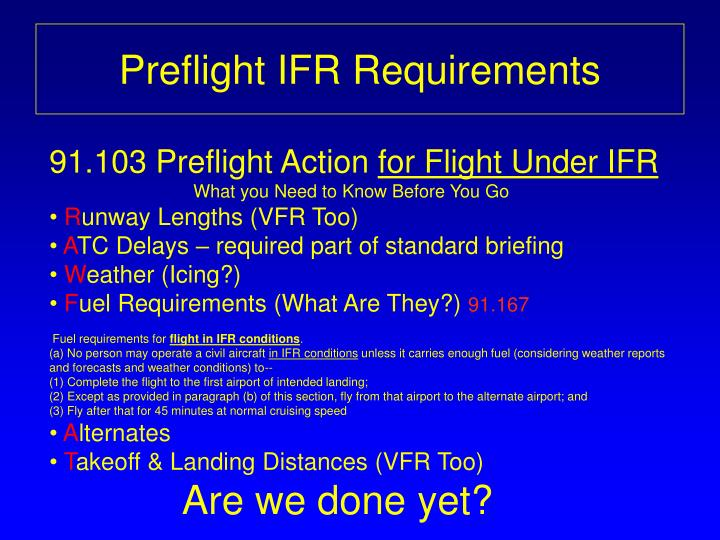 Preflight ifr requirements