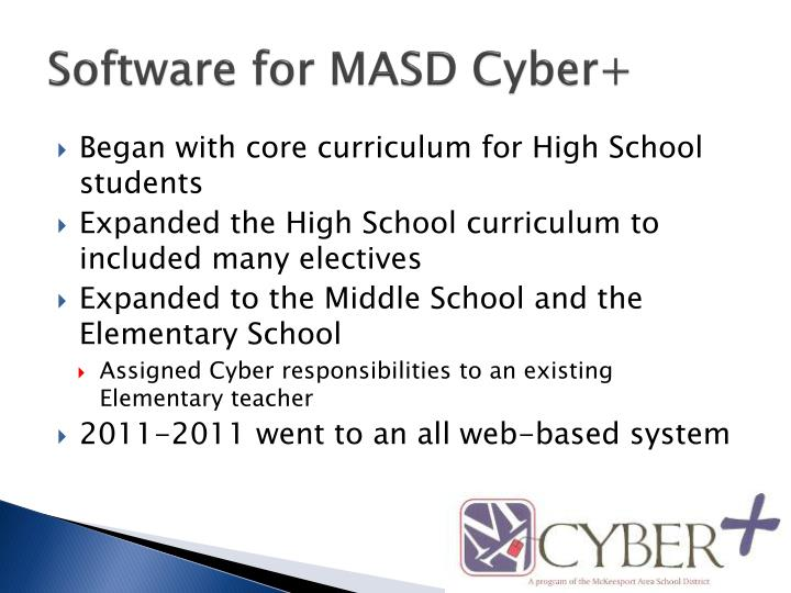 Software for MASD Cyber+