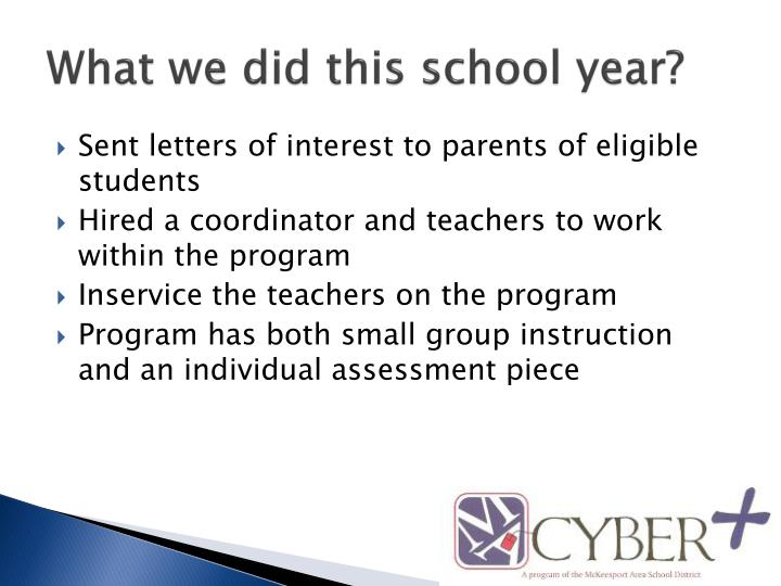 What we did this school year?
